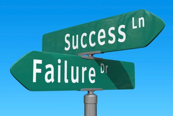 We're at the intersection of Success Lane and Failure Drive.