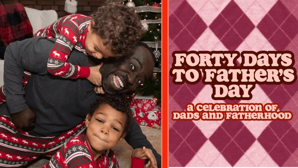 The featured image for Forty Days for Father's Day with Casey being manhandled by his two sons at Christmastime.