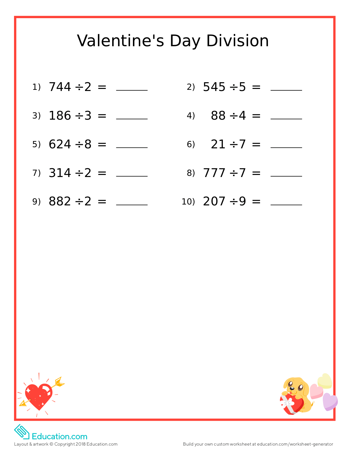 Valentine S Day Fun Math Worksheet