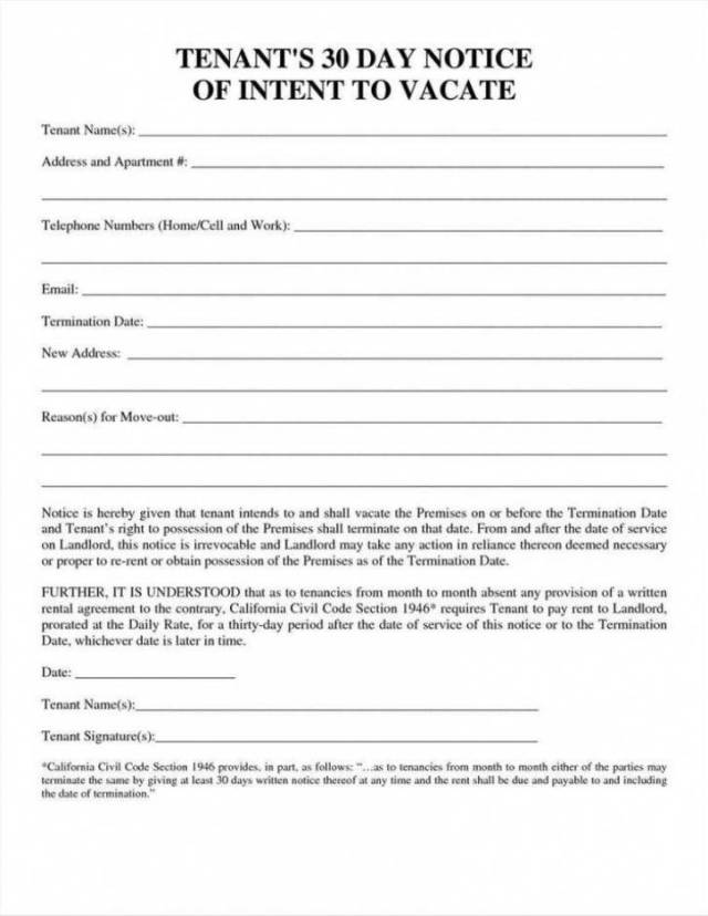 30 Day Notice For Landlord Template