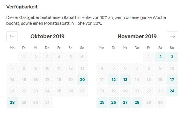 AIRBNB Auslastung Oktober und November 2019