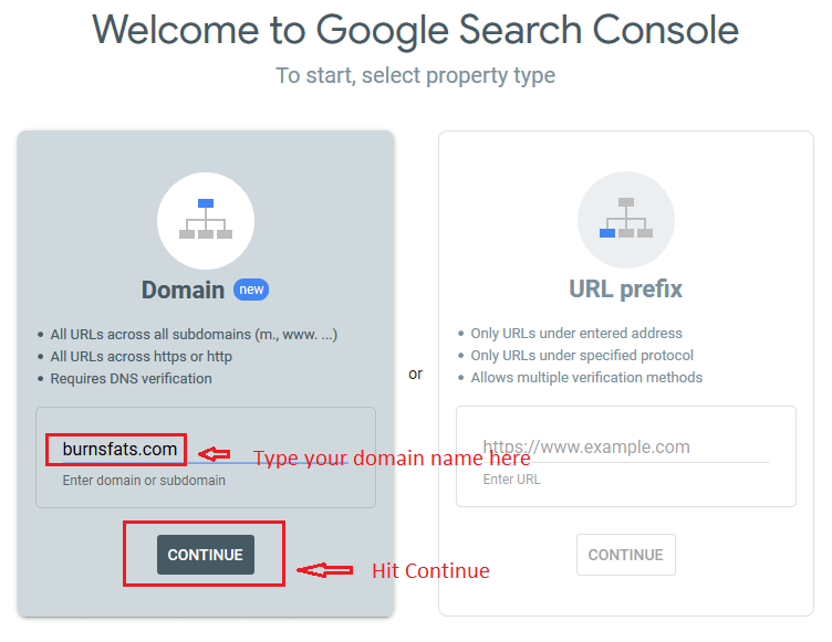 gsc domain mode - Google Analytics and Google Search Console: Explanation and Set up