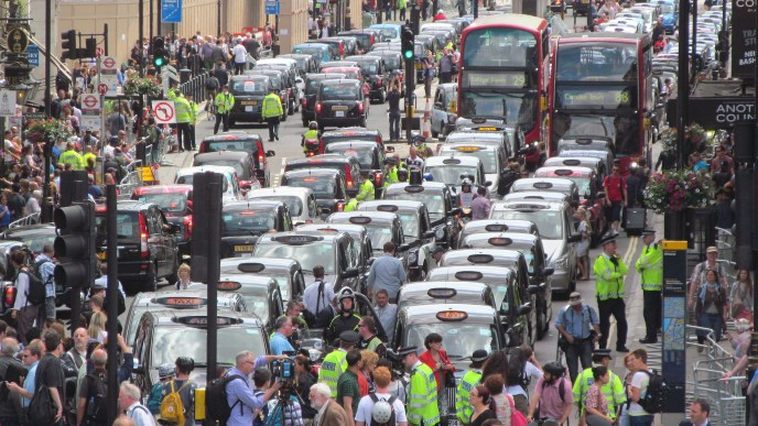London anti-Uber taxi protest
