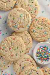 Funfetti Cookies with confetti sprinkles