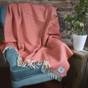 Recycled Wool Herringbone Blanket Throw   Made in Yorkshire