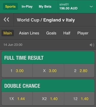 Double Chance Bet at bet365