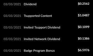 Tsu Badge Bonus dividends