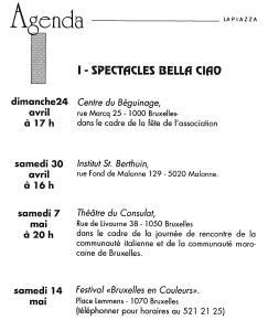 LA PIAZZA N.39 Mars-Avril 1994 agenda
