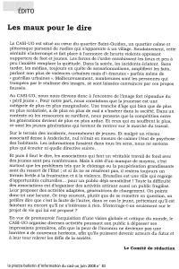 LA PIAZZA N.83 Juillet 2008 éditoiral Les maux pour le dire