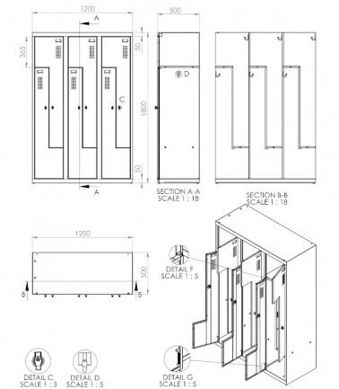 vestiaire portes z 6 casiers gain de place