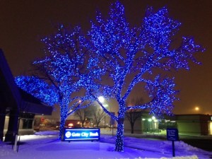 The lights at Fargo's Gate City Bank were really beautiful on the snow.