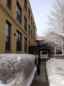 In downtown Fargo, we viewed a special exhibit of Andy Warhol's art work.  Outside you can see the beautiful frost that clung to trees and bushes all day.