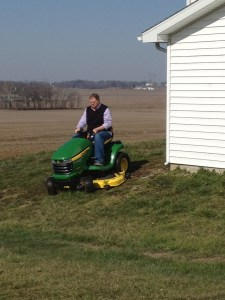 Briefly testing out the newly-serviced JD X340 mower.  Oh, the sweet smell of cut grass