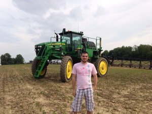 Yvertin is becoming a fan of the John Deere 4730 sprayer, especially the AutoTrac feature.