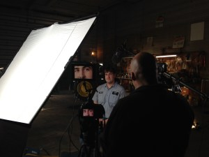 Camera operator Geoff zooms in on John for a close-up