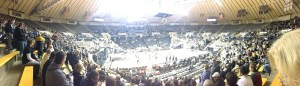 Here's a panoramic shot of Mackey Arena.  The pep band is adding to the atmosphere