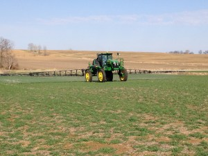 Tuesday evening, John sprays the cover crops at the Watjen farm, located between Wheatland and Bicknell.  It was a picture-perfect evening for spraying.