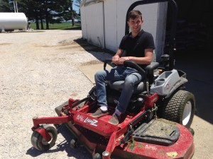 The Exmark zero-turn mower was a new experience for Nicolas.