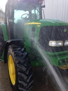Later in the day, the 7130 gets a little wash job.  It gets pretty dusty sometimes while using the bush hog.