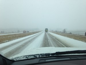 I-69 Northbound from Evansville. We saw 6 slide-offs and the aftermath of two collisions.