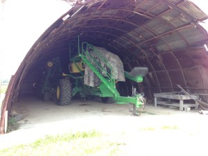 The JD 1890-1910 soybean planter sits quietly in the quonset building at Huey.  The planting season was very extended this year.  Never before have we planted soybeans this late in the year.  We will see how it turns out.