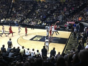One of AJ Hammons' 7 crowd-energizing dunks during the game.  His 34 points and 12 rebounds earned him B1G Player of the Week.  (3rd time this season)
