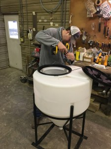 """John is installing a device called a """"Chem-Blade"""" in this inductor tank"""