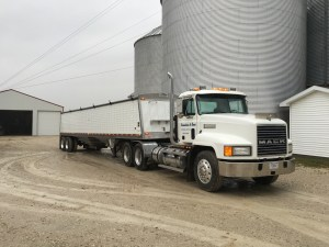 """Brandon is using the """"Vanna"""" truck today to deliver corn to GPC"""