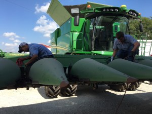 """Brandon and John check the oil level in each row's gearbox. Each one checked out okay. If the oil level was low, they would add special JD """"Corn Head Grease"""" to fill the gearbox to proper level."""