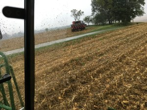 Later, we moved outta this field, and took the combines back home to the main farm.