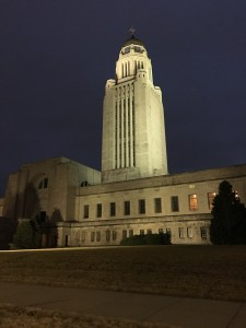 """The Nebraska State Capitol Building. On the top is a statue called """"The Sower"""", fitting for an agricultural state."""