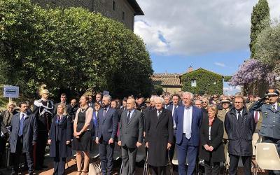 Il Presidente in visita a Vinci, di fronte alla Casina di Manon