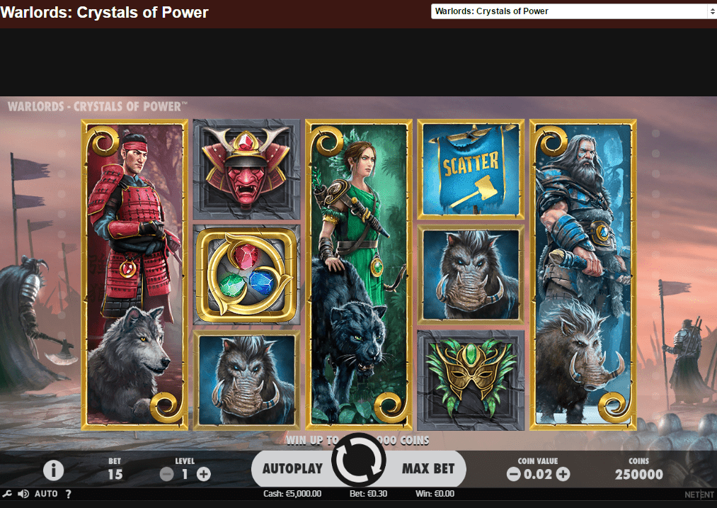GrandWild Casino Warlords: Crystals of Power