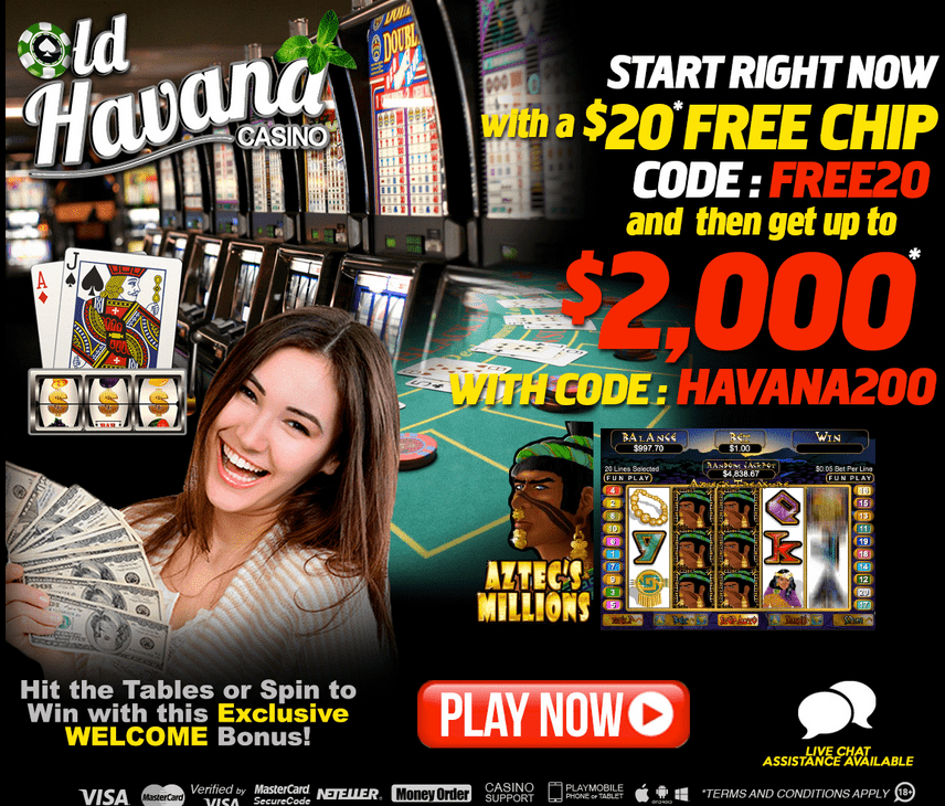 Old Havana Casino 200% Match Welcome Bonus $2000 FREE $20 No Deposit Bonus