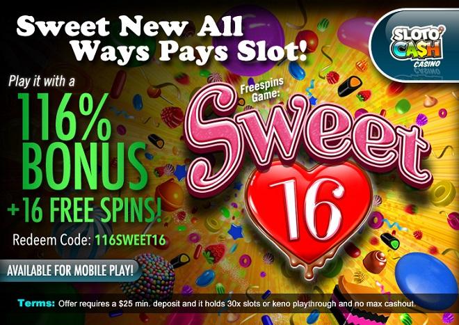SlotoCash Casino RTG Sweet 16