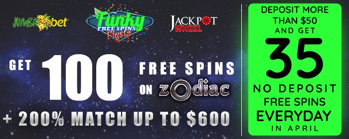 Jumba Bet Jackpot Wheel 35 FREE Spins April 2017