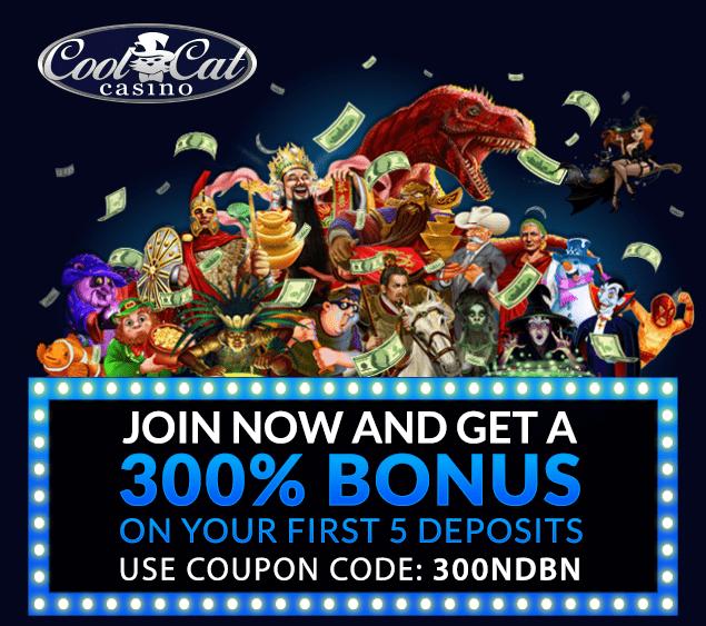 CoolCat Casino 300% No Playthrough Bonus