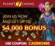Planet 7 Casino No Deposit $25 FREE Chip and 400% Deposit Match Bonus up to $4000 RTG