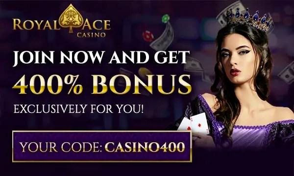 Royal Ace RTG 400% Deposit Match Bonus up to $4000