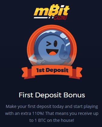 mBit Casino 110% 1 BTC First Deposit Bonus