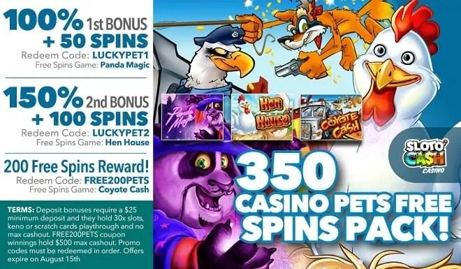SlotoCash Casino 350 Casino Pets Free Spins Pack