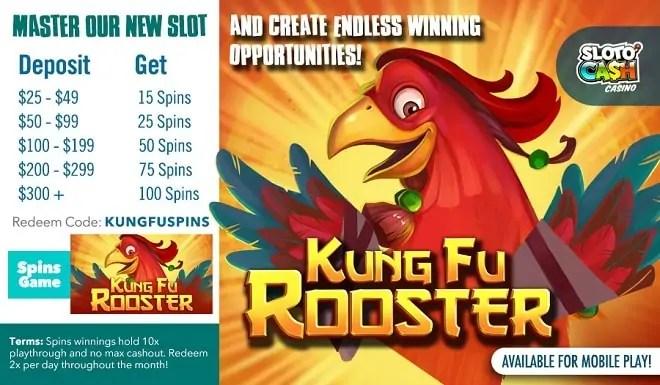 SlotoCash Casino RTG Master New Slots Kung Fu Rooster