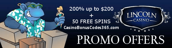 Lincoln Casino 200% up to $200 plus 50 FREE SPINS on Cool Bananas WGS