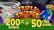 Coolcat Casino 200% Bonus plus 50 FREE RTG Triple Twister Spins Special Offer