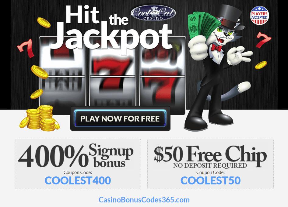 CoolCat Casino 400% Sign Up Bonus Plus $50 FREE Chips