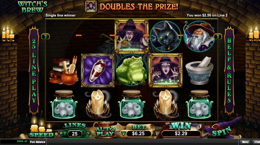 Raging Bull Casino RTG Witchs Brew $50 FREE
