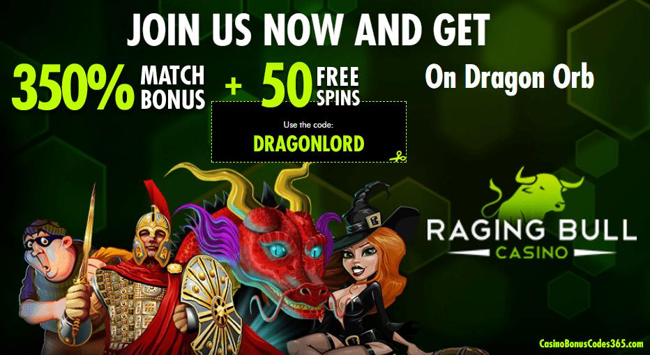 Raging Bull Casino 350% Bonus plus $50 No Deposit FREE Chips RTG Dragon Orb