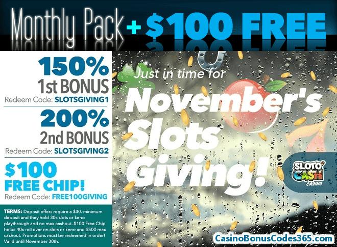 SlotoCash Casino November Slots Giving $100 FREE Chips