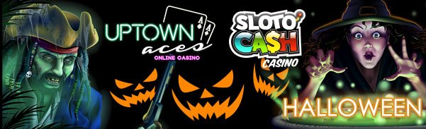 SlotoCash Casino Uptown Aces Halloween FREE Spins and Deposit Match Bonus Offers