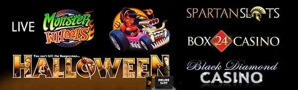 Spartan Slots Box 24 Casino Black Diamond Casino Microgaming Monster Wheels Halloween
